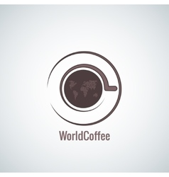 coffee cup world map concept background vector image vector image