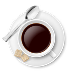 Coffee with sugar on white background vector