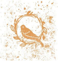 Design with nest and bird vector image