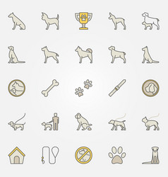dog colorful icons set vector image