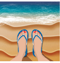 Female legs in flip flops on sand beach and sea vector