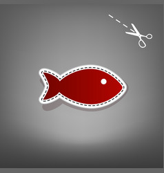 Fish sign red icon with for vector