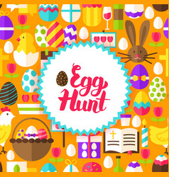 Flat egg hunt postcard vector