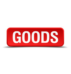 goods red 3d square button on white background vector image