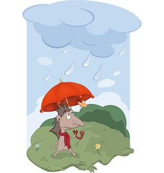 Hedgehog a rain and the butterfly vector image vector image