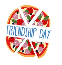 International friendship day pizza pieces for vector