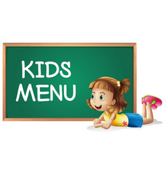 Little girl and kids menu on the board vector