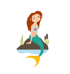 Little red haired mermaid sitting on rocks vector
