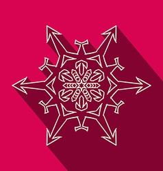 Long shadow filigree snowflake icon vector image