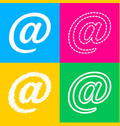 Mail sign four styles of icon on vector
