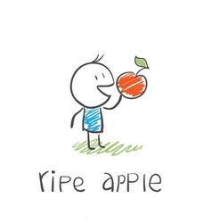 man with a ripe apple vector image
