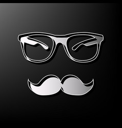 Mustache and glasses sign gray 3d printed vector