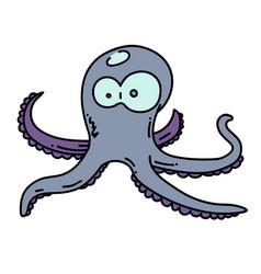 octopus cartoon hand drawn image vector image