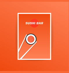 Orange sushi bar card with chopstick vector