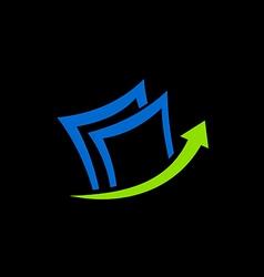 paper data arrow business finance logo vector image