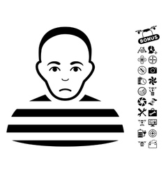 Prisoner icon with air drone tools bonus vector