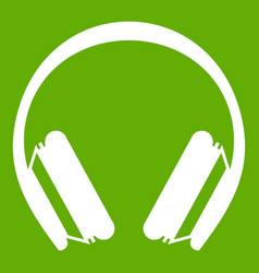 Protective headphones icon green vector