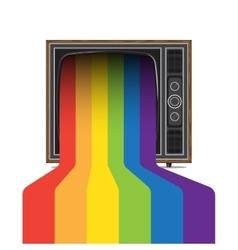 Retro tv with rainbow vector