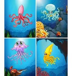 Sea animals under the sea vector image vector image