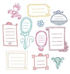 Set of cute contour color frames with curls vector image
