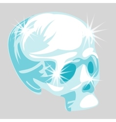 Shining crystal skull in cartoon style vector