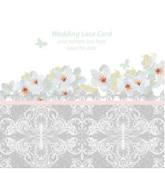 Spring blossom flowers and lace wedding invitation vector