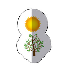 Sticker colorful nature picture with tree with vector