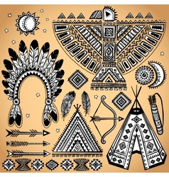 Vintage set of native american symbols vector
