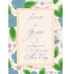 Vintage wedding invitation with torn paper banner vector