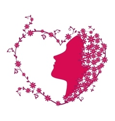 Woman with heart card vector