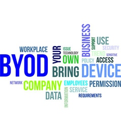 word cloud byod vector image vector image