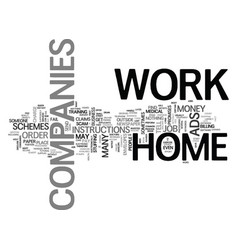 work at home companies text word cloud concept vector image vector image