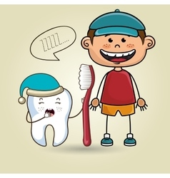 Smiling cartoon child with a toothbrush and a vector