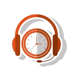Isolated headphone and clock design vector