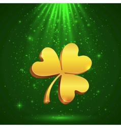 Golden clover in the magic light vector image