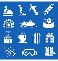 Mountain winter resort and sport hotel icons Ski vector image