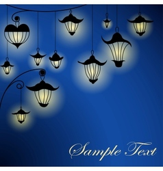 Night background with lanterns vector image