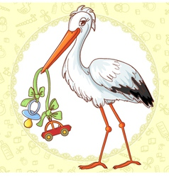 Card with stork and pacifier for boy vector image