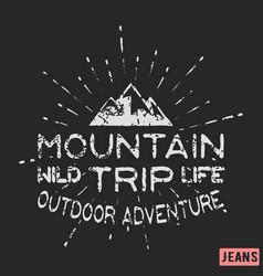 Mountain outdoor adventure vintage stamp vector