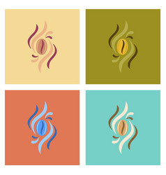 assembly flat icons coffee beans logo vector image