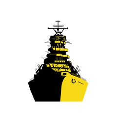 World war two battleship retro vector