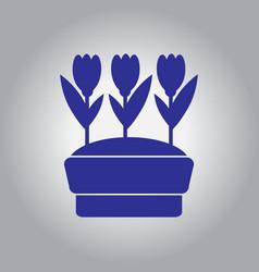 Flowers in pot icon house pot plants garden vector