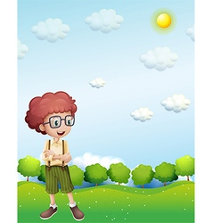 A boy standing under the scorching heat of the sun vector