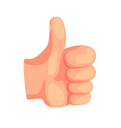Thumb up hand gesture success sign cartoon vector