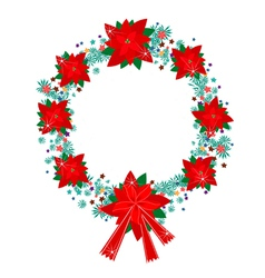 Xmas wreath of red poinsettia flowers and bow vector