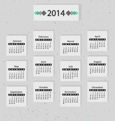 Calendar of 2014 Gray vector image