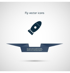 Icon flat bomb and ribbon for your text vector
