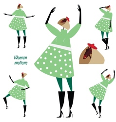 Set of woman motions vector