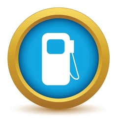 Gold gas station icon vector