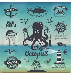 Set of Vintage seafood fish typography design vector image